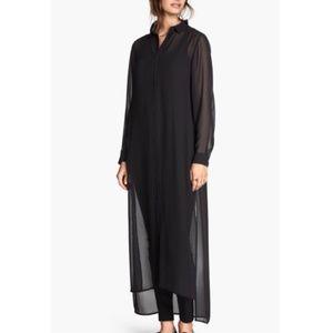 H&M Sheer Black Maxi Shirt Dress Size L